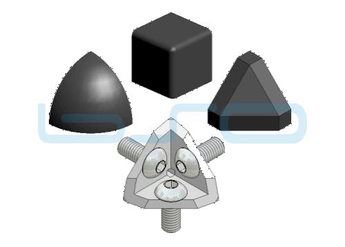 Eckwinkel-Set Nut 8 30x30 3x90 Grad Abdeckkappe rund