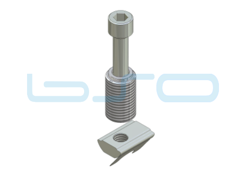 Combi-Einschraubverbinder Nut 10 Raster 45 D=14mm Edelstahl